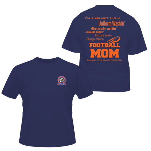 Dolphin-Football-Mom Apparel Made Custom T Shirts for Sports Teams
